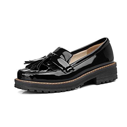 AllhqFashion Mujeres Sin Cordones PU Puntera Redonda Mini Tacón Zapatos de Tacón, Negro, 34