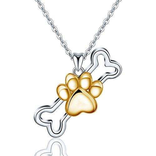 Eudora 925 Sterling Silber Halsketten für Frauen, Niedlicher Engel Welpe Fußabdruck Knochen Anhänger Schmuck Geschenk für Hundeliebhaber Tochter Damen, Kette Silber 45,7 ()