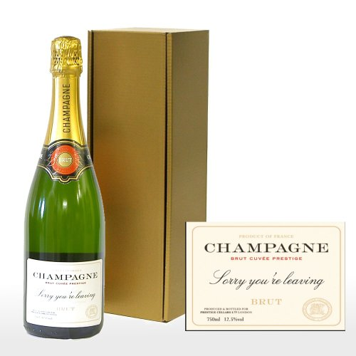 Fine Food Store Personalised Premium Fine Champagne in Gold Gift Box with 'Sorry You're Leaving' on the Label NV 75 cl