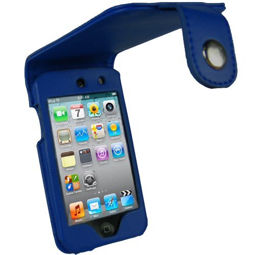 igadgitz PU Leder Tasche Schutzhülle Etui Case Hülle in Blau für Apple iPod Touch 4G 4. Gen Generation 8gb 32gb & 64gb + Gürtelbefestigung + Display Schutzfolie -
