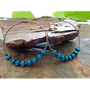 ★ TÜRKISE BRONZE CREOLEN & HOLZ ★ runde Ohrringe in blau türkis
