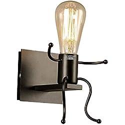 KAWELL Créatif Rétro Applique Murale Intérieur Vintage Lampe Murale Industriel Lampe de Mur Fer à Repasser Art Déco E27 Base pour Bar, Chambre à Coucher, Cuisine, Restaurant, Café, Couloir,Noir
