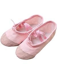 Ouneed Lienzo Ballet Pointe Zapatos de Baile Gimnasia Fitness Zapatillas para niños