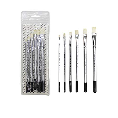 Acryl-Ölbürste-Wasser-Kreide-Set, 6 Schafschwanz-Flachpinsel-Set, für Künstler Kinder Erwachsene...