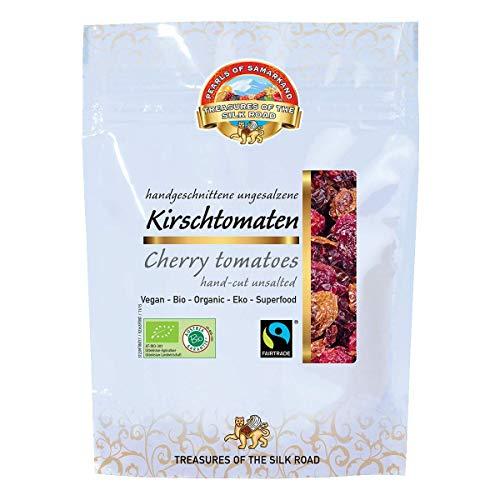 Bio getrocknete Kirschtomaten ungesalzen Fairtrade 420g Tomaten, Cherry-Tomaten, Rohkost, aromatisch, ohne Salzzusatz, ungeschwefelt, sonnengetrocknet, ungeölt gelblich/rötlich/bräunlich 7x60g
