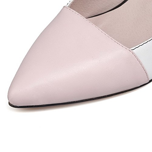 Sapatos Couro Bombas Rosa Alto Voguezone009 Toe Pu Misturada Senhoras Apontou Puxar Salto Cor T441Rqfw