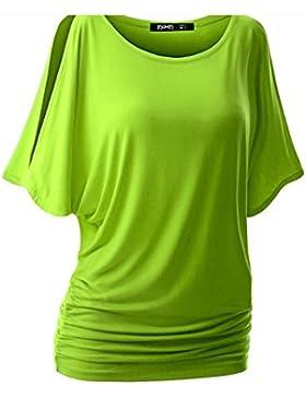 Camiseta estilo blusa con cuello redondo y manga corta tipo murciélago para mujer de Swallowuk