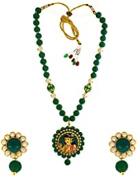 Anuradha Art Golden Finish Green Finish Temple Styled Designer Traditional Necklace Set For Women/Girls