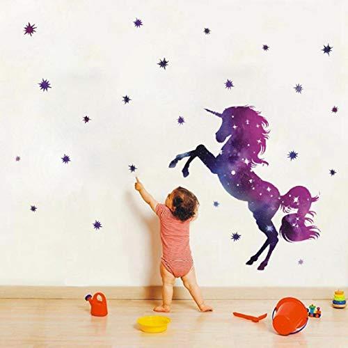 Cartoon Nette Einhörner Sterne Herz Wandaufkleber Tapete DIY Vinyl Home Wandtattoos Kinder Wohnzimmer Schlafzimmer Mädchen Zimmer Dekor (D) - Pferd Mädchen Zimmer Dekor Für
