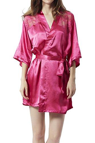 Damen Kimono Satin Morgenmantel Nachtmantel Unterkleid Robe Schlafanzug Nachtwäsche Spitze Blumen V Ausschnitt mit Gürtel M-Mala®, S, 9253 Pink (Baumwoll-satin-robe)