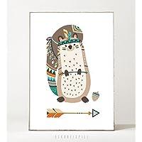 Kunstdruck / Poster KLEINES EICHHÖRNCHEN -ungerahmt- Tier, Boho, Kinderzimmer, Indianer, Geschenk, Geburtstag, Taufe, Kind, Muster, Waldtier, Pfeil