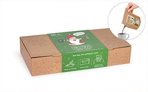 Weihnachts-Grußkarten mit Kaffee, 10Stk. in der Coffeebrewer-Gourmet-Box (MEHRWEG)