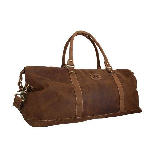 Spaziosa borsa da viaggio/Weekender Vintage in pelle scamosciata di Shalimar modello: Kilmore 65x 23x 29cm Isabella naturale