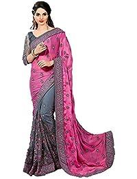Darshita International Women's Chiffon Saree (Mosspinkngrey_Multi-colored)