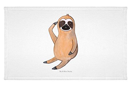 Mr. & Mrs. Panda Gäste Handtuch Faultier Vogel zeigen – 100% handmade in Norddeutschland – Faultier, Faultiere, faul, Lieblingstier, Spinner, früher Vogel, der frühe Vogel, Frühaufsteher, Morgenmuffel Gästehandtuch, Handtuch, Handtücher