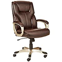 AmazonBasics High-Back Executive Swivel Office Desk Chair - Brown with Pewter Finish, BIFMA Certified