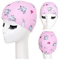 Kailya Unicorn Swimming Cap for Kids - High Elastic Silicone Waterproof Swim Cap for Children, Boys, Girls - Lovely Cute Cartoon Style Swim Hat (Pink)
