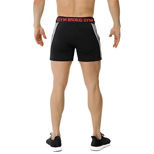 BROKIG-Mens-5-Gym-Fitness-Shorts-Running-Workout-Short-Pants-Elastic-Waistband-with-Pockets