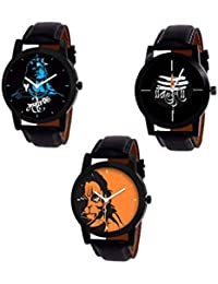 SKYLONA® Combo Of 3 Tavernello Black Belt & Mahadev & Hanuman Printed Dial Analog Watch For Men And Boys