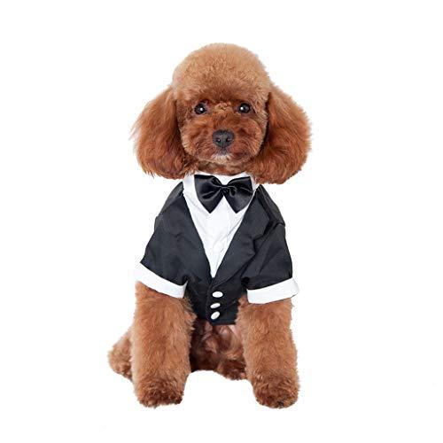 YWLINK Gentleman Haustier Hund Kleid Hunde Anzug Krawatte Hochzeit Party Formelle Elegant Kleidung FüR HundekostüM(Schwarz,M)