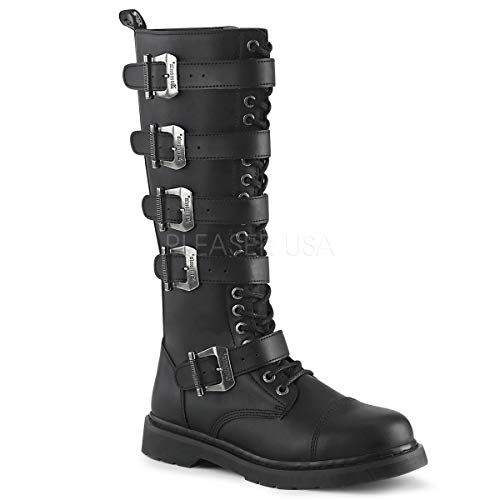 Demonia BOLT-425 Blk Vegan Leather UK 8 (EU 41) - Buckle Strap Knee Boot