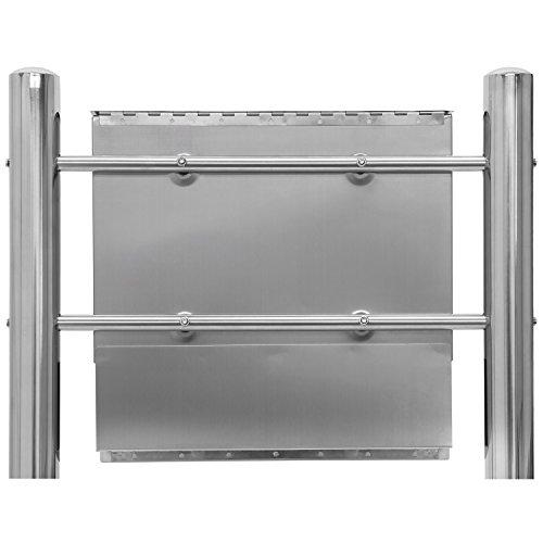 Hochwertiger V2A Edelstahl Standbriefkasten mit Zeitungsfach, 120 cm hoch, Gewicht 5,4 kg - 5
