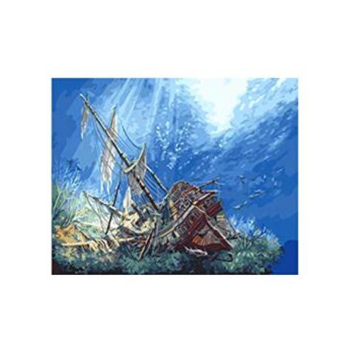 OKOUNOKO Malen Nach Zahlen Für Kinder Sinkende Schiff Unter Meer Malen Nach Zahlen Leinwand Malerei Wohnkultur Farbe Nach Nummer Rahmenlos 40X50Cm - Schiff Sinkende