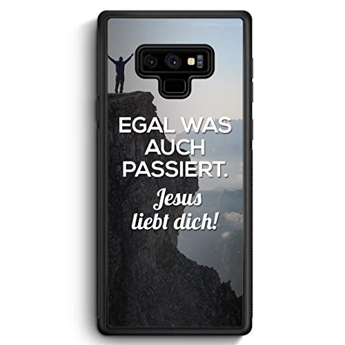 Egal was auch passiert - Jesus liebt Dich - Silikon Hülle für Samsung Galaxy Note 9 - Motiv Design Christlich Religion Jesus Schön - Handyhülle Schut