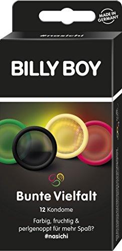 Billy Boy Kondome Mix-Sortiment aus farbigen und perlgenoppten Kondomen, 12-Stück