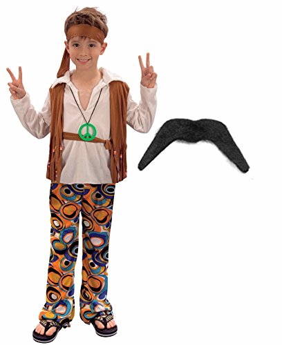 (Jungen/Mädchen, 60er/70er-Jahre-Stil Hippie Outfit mit Kostüm Schnurrbart)