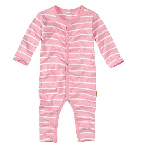 wellyou, Schlafanzug, Pyjama für Mädchen, Einteiler langarm, Baby Kinder, rosa weiß gestreift, geringelt, Feinripp 100% Baumwolle, Größe 80-86