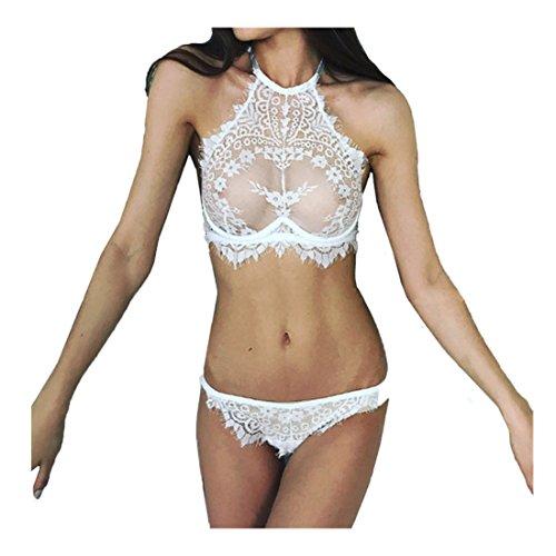 Sexy Dessous Set FORH Damen Sexy Spitzen Blumen Reizwäsche Push Up BH Unterwäsche Top + Charming Panty G String Reizvolle Transparent Erotik lingerie Set (Weiß, XL) (Blumen-shop, G-string)