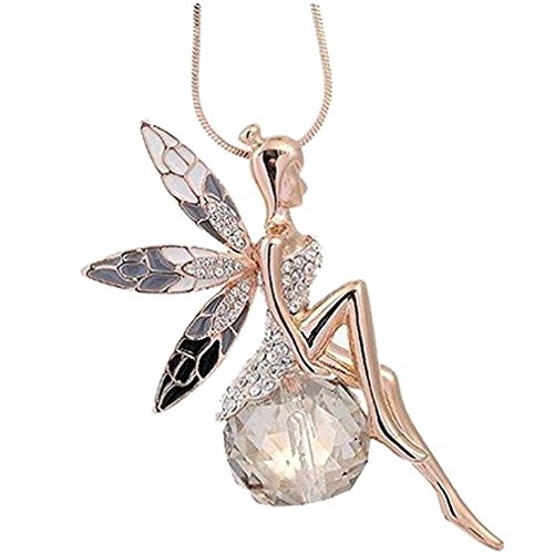 Liquidazione offerte, fittingran angel wings collana donna lovely angel wings collana a farfalla in cristallo lunga gioielleria maglione (oro rosa)
