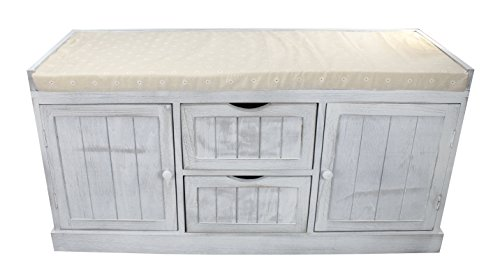 Schublade Bank (Holz Sitz-Bank mit Stau-Raum weiß grau)