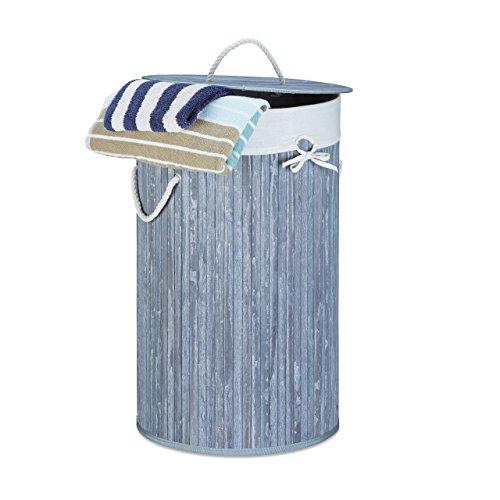 Relaxdays cesto portabiancheria bambù rotondo Ø 41cm, pieghevole cesta portabiancheria, volume 80litri, sacco biancheria in cotone, grigio