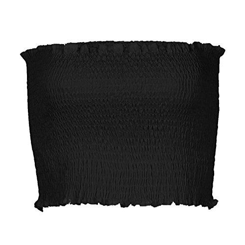 Juleya Femme Off Epaule Crop Tops - Mode Couleur Unie Slim Fit Chemisier Sexy sans Manches Ébouriffer Casual Bodycon Chemise Shirts Haut Court Noir