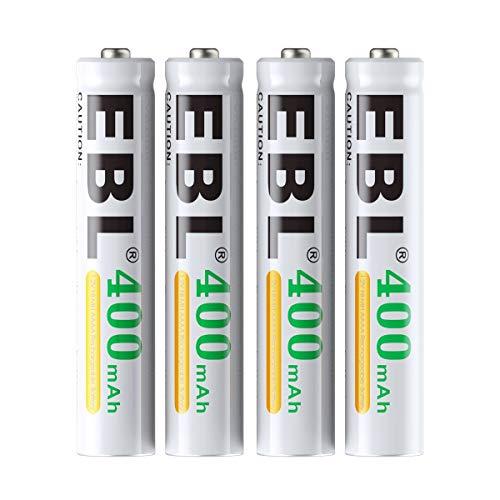 EBL AAAA Batterie Ricaricabili Ad Alta Capacità,Pile Ministilo Rechargeable da 400mAh Ni-MH 1.2V con Astuccio Ricarica da 1200 volte,Comfezione da 4 pezz