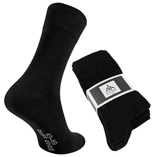 Cliff Edge 5 Paar hochwertige Premium Herren-Damen-Socken | atmungsaktive Socken aus gekämmter Baumwolle (39-42, Schwarz - 5 Paar)