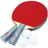 Newsyegie Doble PESCADURA Outdoor Indoor Sports Raquetas de Tenis de Mesa con Pelotas de Ping-Pong Portable Durable Ping-Pong Paddle Set