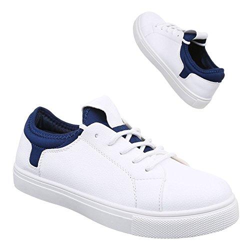 Damen Schuhe, 55653, FREIZEITSCHUHE LOW-TOP SNEAKER Weiß Blau