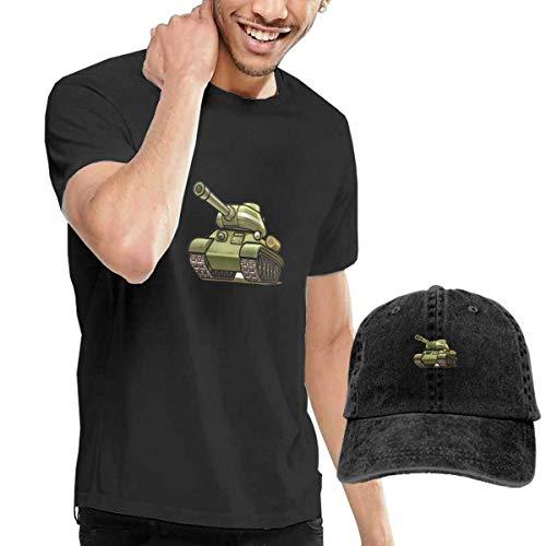 SOTTK Herren Kurzarmshirt Dark Green Tank Men's Short Sleeve T Shirt & Washed Adjustable Baseball Cap Hat