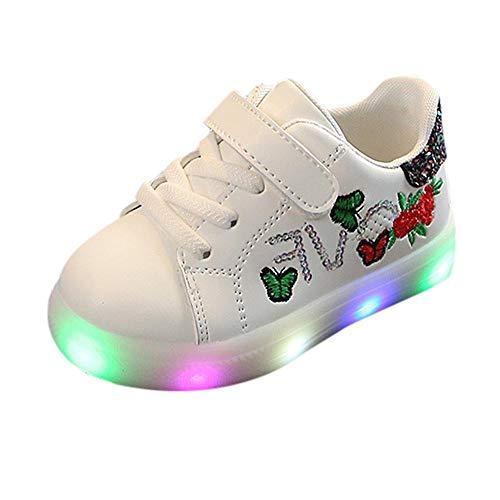 Doublehero Babyschuhe 1-6 Jahre Unisex Baby Junge Mädchen Prinz Prinzessin Mode Star Glühend Sneaker LED Leuchtet Kind Kleinkind Beiläufig Bunt Licht Schuhe (26.5 EU, Schwarz) -