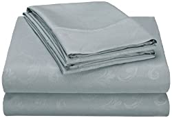 Hotel New York 90GSM Embossed Flower 2 Microfiber 4-Piece Pillowcases and Sheets Set, Full, Light Blue