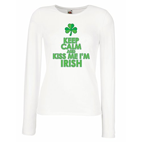 Weibliche Langen Ärmeln T-Shirt Kiss me I'm Irish, Saint Patrick Day Jokes Quotes Shirts (Medium Weiß Mehrfarben)