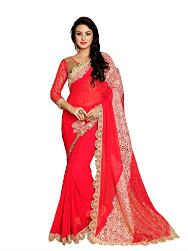 Elevate Women Embroidered Bollywood Georgette, Brasso Fabric Saree (Red)