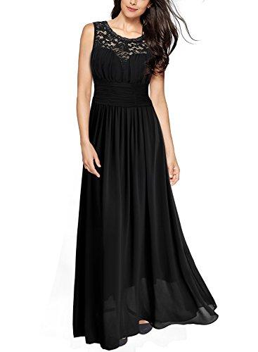 Miusol Damen Elegant Sommer Trägerkleid Faltenrock Rundhals Cocktailkleid Spitzen Langes Kleid...