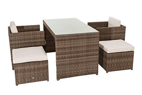 5-teiliges Gartenmöbel-Set Moreno Mit Auflagen Platzsparend Kunstrattan Braun Beige