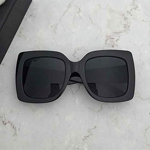 Wangwen Frauen übergroßen quadratischen Rahmen Sonnenbrille mehrere getönte Glitter Designer inspiriert stilvolle Shades S904 (Color : Black)