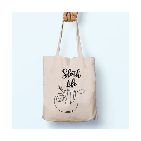 Sloth Life, Illustrated, Shoulder, Tote, Long Handles, Graphic, Cute, Tumblr, Hipster, Beach, Gym, Festival, School, Bag - handmade-bags