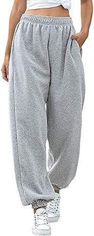 BriskyM Pantaloni della Tuta Inferiori da Donna Tasche Vita Alta Sportivo Palestra Pantaloni Sportivi da Jogge